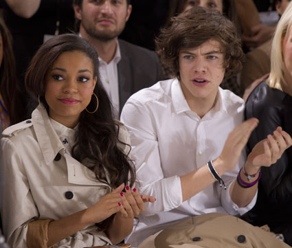 harry styles, james corden, julia carey and dionne bromfield at london fashion week 2012