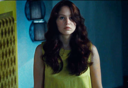 katniss in yellow dress the hunger games