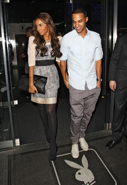 marvin humes and rochelle wiseman at playboy club in london