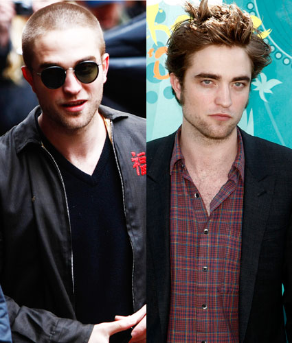 robert pattinson shaved head compared to big hair