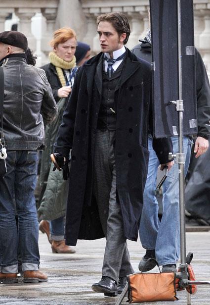 Robert Pattinson on the set of Bel Ami