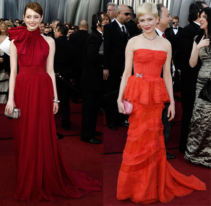 emma stone and michelle williams are best dressed at 2012 oscars