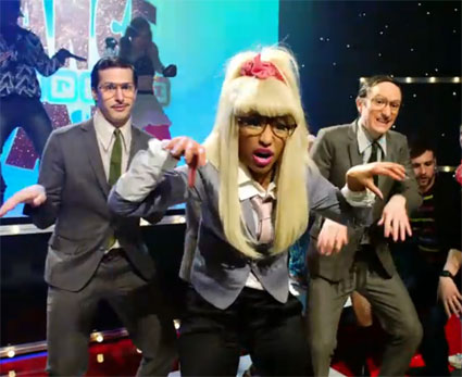 While appearing on US show Saturday Night Live this weekend, Ms Minaj teamed