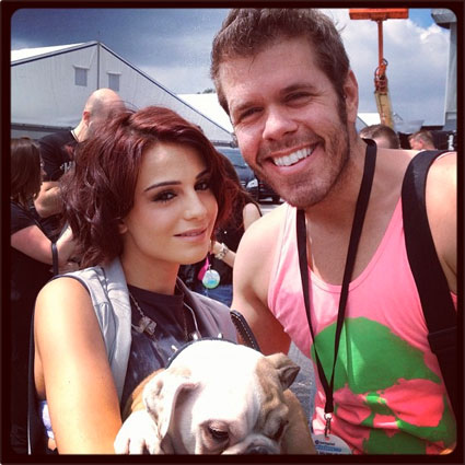 Cher Lloyd with her dog and Perez Hilton at Wireless Festival