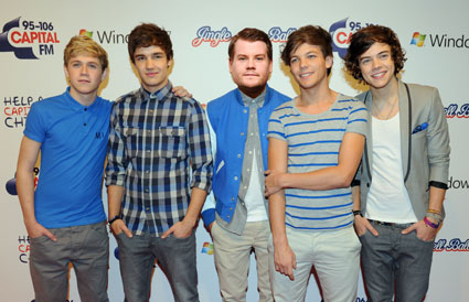 One Direction and James Corden