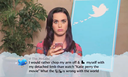 katy perry on jimmy kimmel live reading out a mean tweet