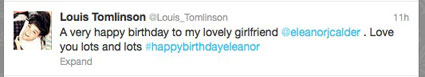 louis tomlinson tweets to eleanor calder