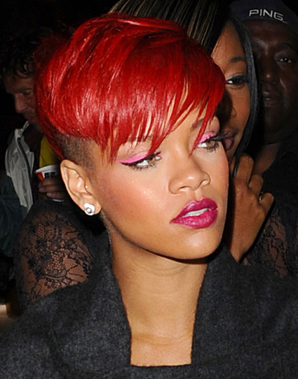 rihanna red hairstyles. at least, to bright red.