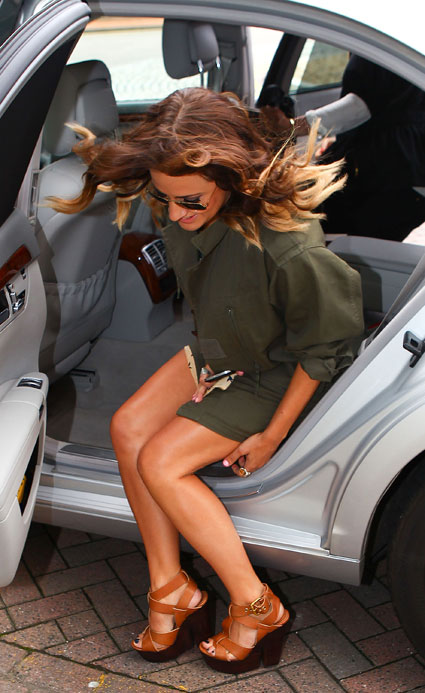 Caroline Flack flashes her knickers at X Factor Cardiff auditions