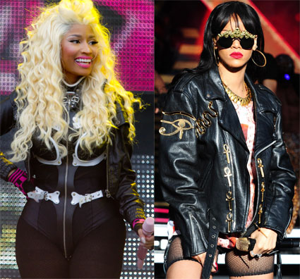 Nicki Minaj and Rihanna at Radio 1's Hackney Weekend 2012