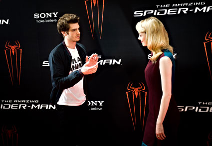 Andrew Garfield and Emma Stone at Amazing Spiderman photocall