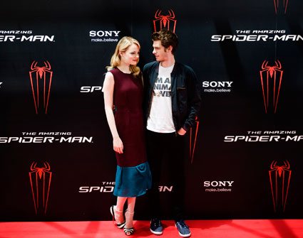 Andrew Garfield and Emma Stone at Amazing Spider Man photo call