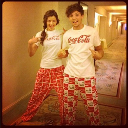 Louis Tomlinson and Eleanor Calder in matching Pyjamas