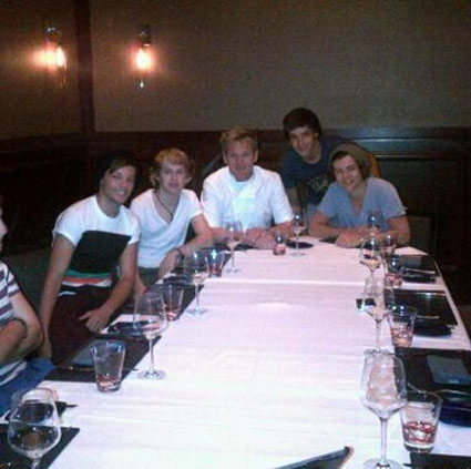 One direction treated to dinner by Gordon Ramsay