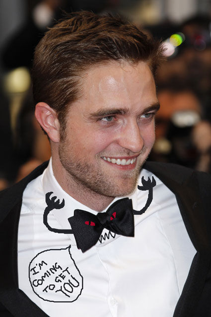 Robert pattinson terrified watching cosmopolis in a bowtie