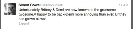 "Simon cowell calls demi lovato and Britney Spears ""gruesome twosome"""