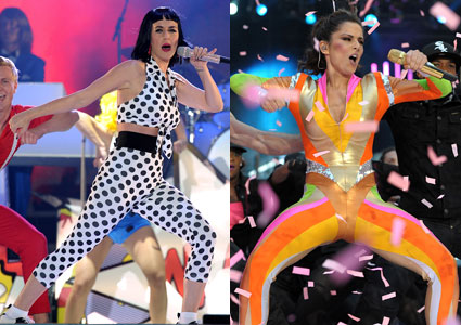 Katy Perry vs Cheryl Cole in Crazy Stage Outfits Of Chaos