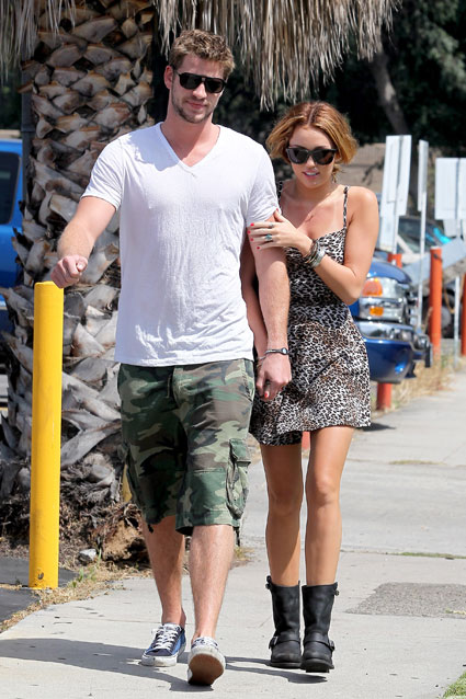 miley cyrus out and about with boyfriend liam hemsworth