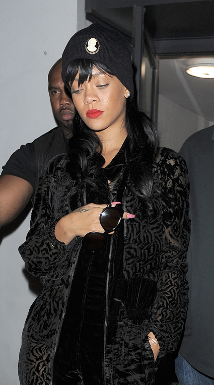 rihanna leaving boujis nightclub in london