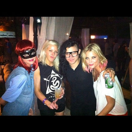Selena Gomez and Ashley Benson with Skrillex and Ellie<br /> Goulding