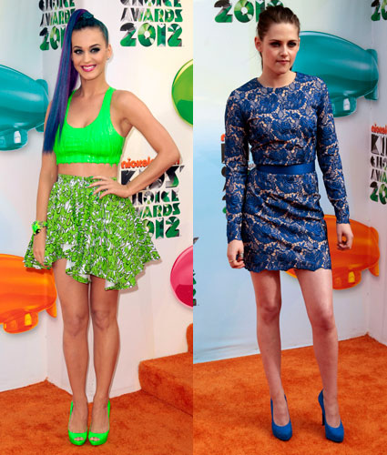 Katy Perry and Kristen Stewart at the Kids Choice Awards