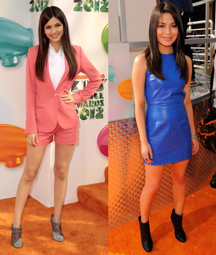Victoria Justice and Miranda Cosgrove at the Kids Choice Awards