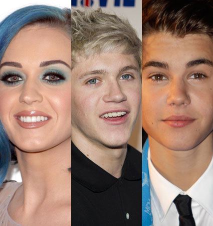 Katy Perry, Niall Horan and Justin Bieber tweeting each other