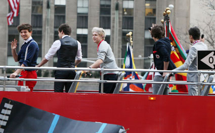 one direction in a bus on the today show 2012