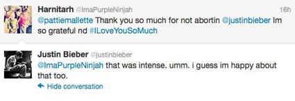 justin bieber twitter screen grab happy he's not aborted