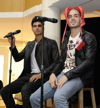 the wanted with bras on their heads in canada