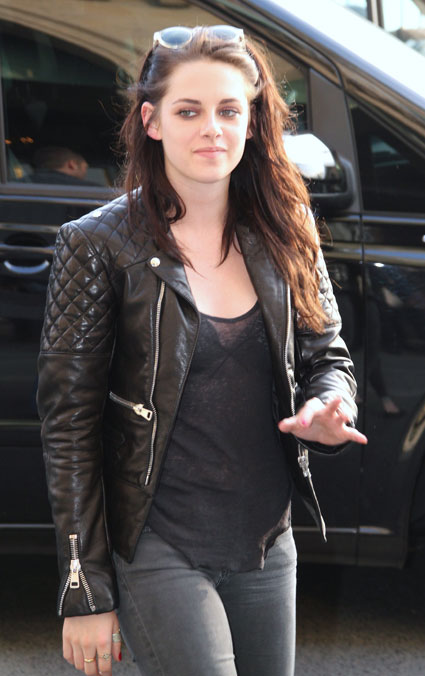 kristen stewart out in paris wearing leather jacket