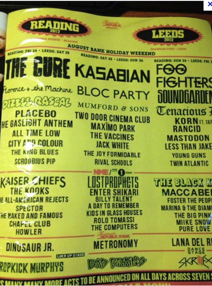 reading and leeds line up 2012 leaks