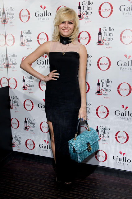 Pixie Lott in a black dress