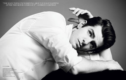 andrew garfield white shirt in v magazine 2012