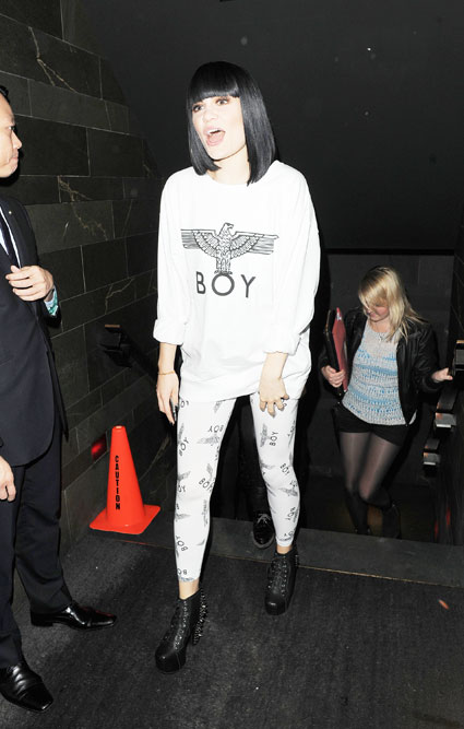jessie j in boy london leaving the 100 club after duet with tom jones