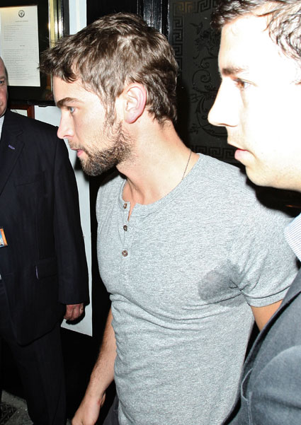 Chace Crawford with sweat patches