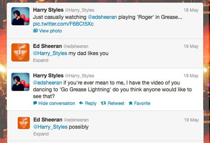 Harry Styles bullies Ed Sheeran on twitter