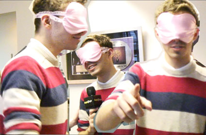 Nathan Sykes in a kinky pink blindfold watch