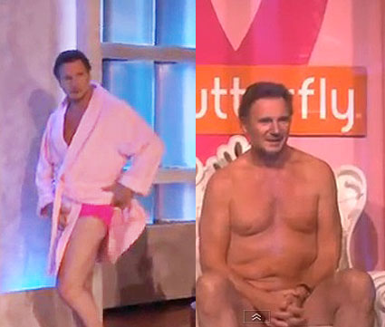 Liam Neeson naked on the Ellen Show for Breast Cancer