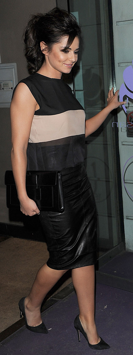 cheryl cole s date leather skirt sheer striped top