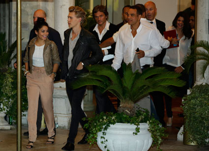 Selena Gomez, Vanessa Hudgens, Austin Butler and Ashley benson on night out at the Venice Film Festival ahead of the Spring Breakers premiere