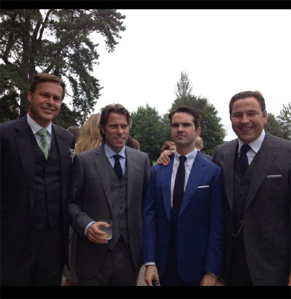John Bishop, Jimmy Carr, David Walliams and Peter Jones at James Corden's wedding