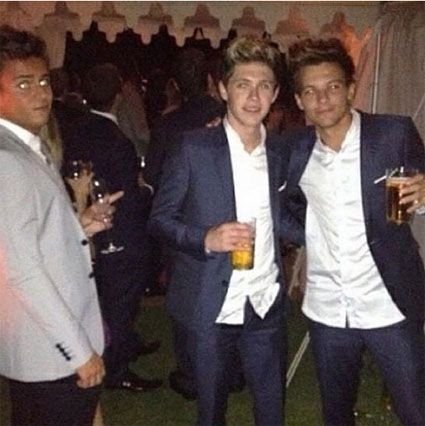 Tom Daley, Niall Horan, Harry Styles, Louis Tomlinson, Eleanor Calder, Kylie Monogue, Russell Tovery head to James Corden's wedding