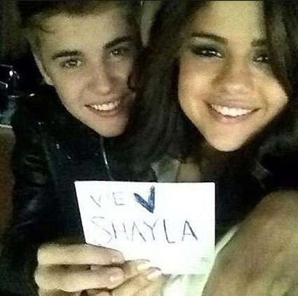 Justin and Selena tweet message to cancer fan