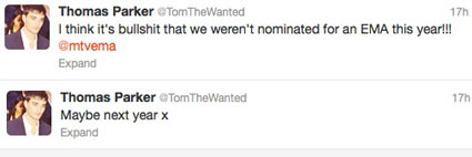 tom parker calls The Wanted snub at MTV EMAs 'bullshit'