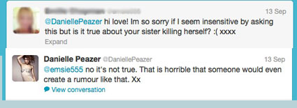 danielle peazer denies rumours that her sister is dead