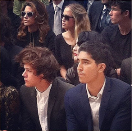 harry styles and dev patel at london fashion week