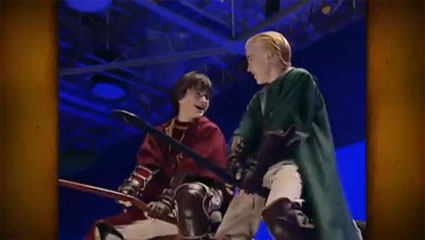 Exclusive clip from behind the scenes of Harry Potter - Tom Felton and Daniel Radcliffe
