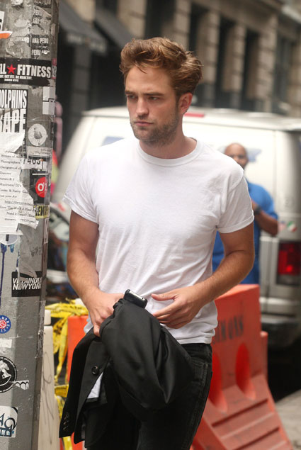 Robert Pattinson spotted out and about with his boxers hanging out in New York while promoting Cosmopolis