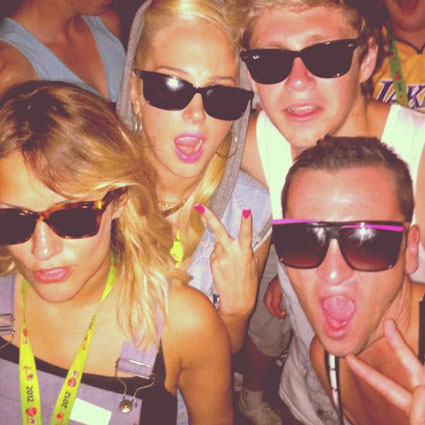 Niall Horan parties with Tulisa and Carol;ine Flack at the Virgin Media V Festival 2012